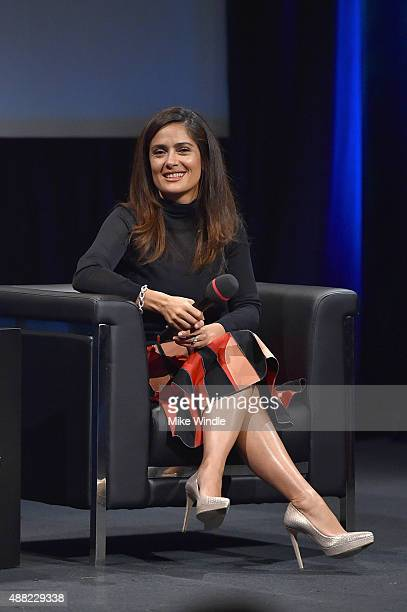 Actress Salma Hayek speaks onstage during the In Conversation with Salma Hayek during the 2015 Toronto International Film Festival at Glenn Gould...