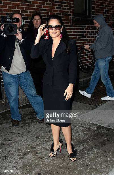 """Actress Salma Hayek visits """"Late Show with David Letterman"""" at the Ed Sullivan Theater January 13, 2009 in New York City."""