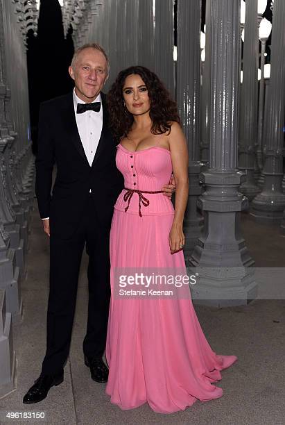 Actress Salma Hayek wearing Gucci and businessman FrancoisHenri Pinault attends LACMA 2015 ArtFilm Gala Honoring James Turrell and Alejandro G...