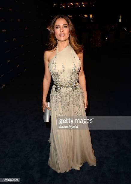 Actress Salma Hayek, wearing Gucci, attends LACMA 2013 Art + Film Gala honoring Martin Scorsese and David Hockney presented by Gucci at LACMA on...