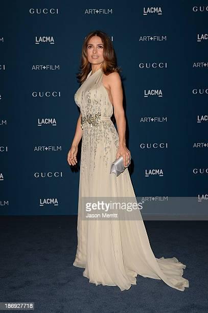 Actress Salma Hayek wearing Gucci attends LACMA 2013 Art Film Gala honoring Martin Scorsese and David Hockney presented by Gucci at LACMA on November...