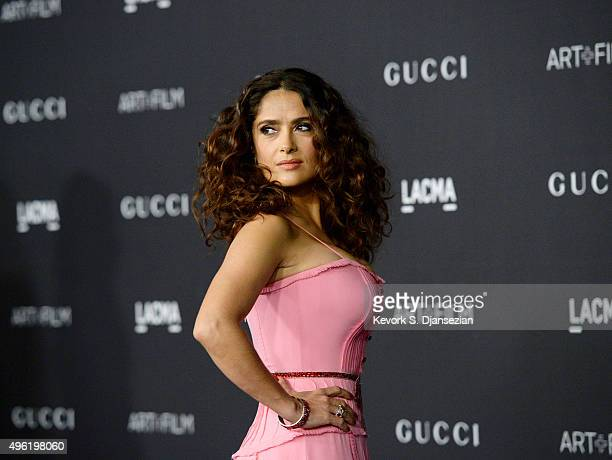 Actress Salma Hayek wearing Gucci attends the LACMA Art Film Gala honoring Alejandro G Iñárritu and James Turrell and presented by Gucci at LACMA on...