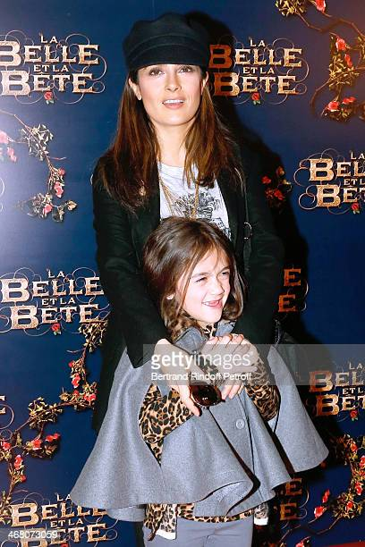 Actress Salma Hayek with her daughter Valentina Paloma Pinault attend 'La Belle et la Bete' Paris Premiere. Held at Gaumont Opera on February 9, 2014...