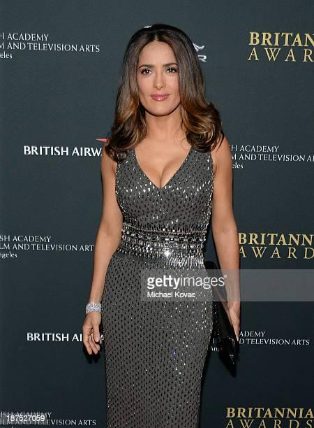 Actress Salma Hayek with Stylebopcom attends the 2013 BAFTA LA Jaguar Britannia Awards presented by BBC America at The Beverly Hilton Hotel on...