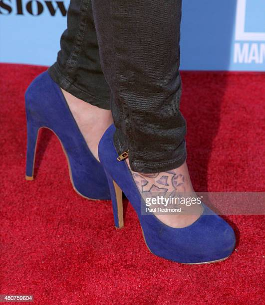 Actress Sam Aotaki shoe detail attends the screening of Mance Media's 'The Young Kieslowski' at the Vista Theatre on July 14 2015 in Los Angeles...