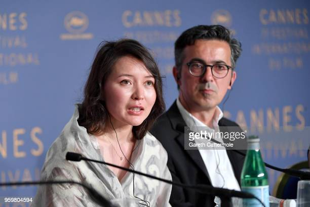 Actress Samal Yeslyamova and producer Thanassis Karathanos attend 'Ayka ' Press Conference during the 71st annual Cannes Film Festival at Palais des...