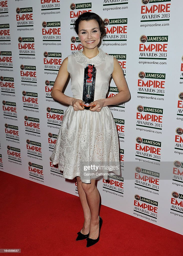 Actress Samantha Barks with the Best Female Newcomer award at the Jameson Empire Awards 2013 at Grosvenor House on March 24, 2013 in London, England.