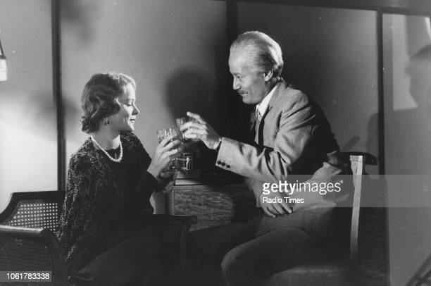 Actress Samantha Bond and an unknown actor in a scene from episode four of the television series 'The Ginger Tree' August 11th 1989