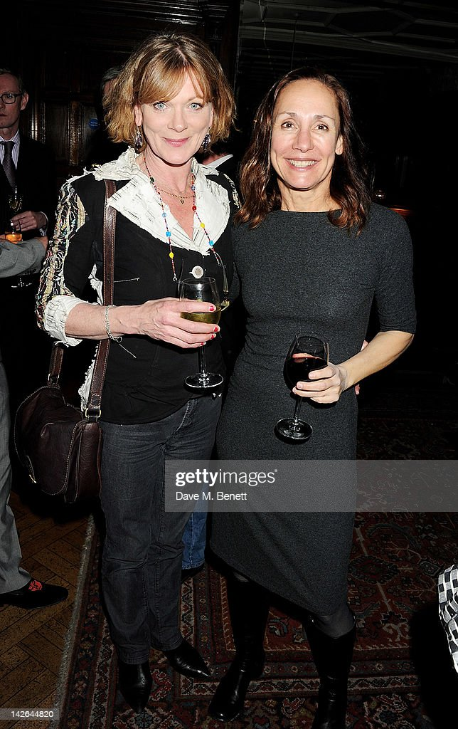 Actress Samantha Bond (L) and cast member Laurie Metcalf attend an after party celebrating the press night performance of 'Long Day's Journey Into Night', playing at The Apollo Theatre, at Kettner's on April 10, 2012 in London, England.