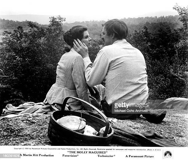Actress Samantha Eggar and actor Richard Harris on set of the Paramount Pictures movie 'The Molly Maguires' in 1970