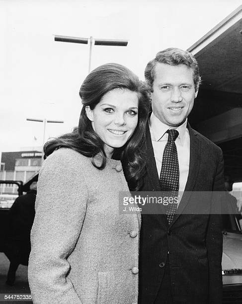 Actress Samantha Eggar and her husband Tom Stern at London Airport April 14th 1965