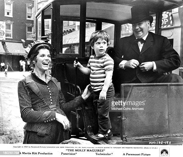 Actress Samantha Eggar and son behind the scenes on set of the Paramount Pictures movie The Molly Maguires in 1970