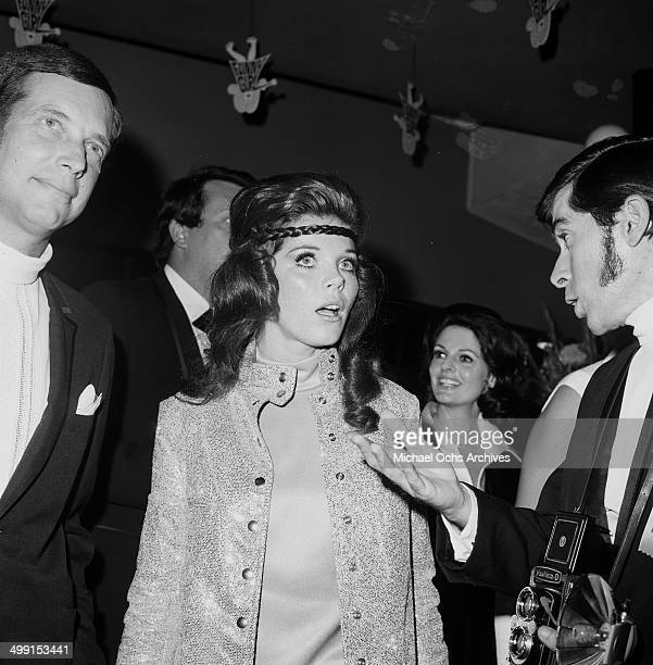 Actress Samantha Eggar attends a party with agent Dick Shepherd in Los AngelesCalifornia
