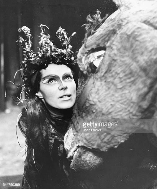 Actress Samantha Eggar in costume rehearing the Shakespeare play 'A Midsummer Night's Dream' at the Royal Court Theatre London January 23rd 1962