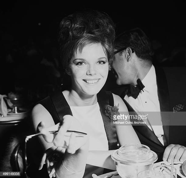 Actress Samantha Eggar poses at a party in Los AngelesCalifornia