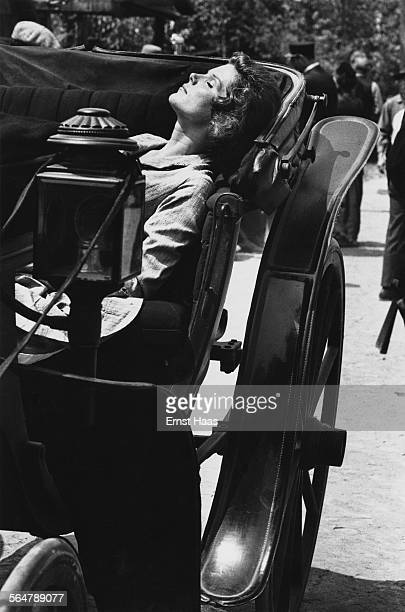 Actress Samantha Eggar relaxing on the set of the film 'The Molly Maguires' 1970