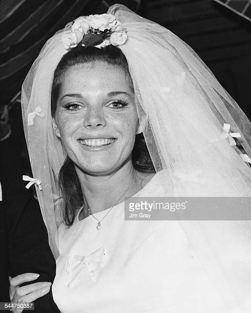Actress Samantha Eggar wearing a white dress and veil on her wedding day she married Tom Stern at St Mary's Church London October 24th 1964