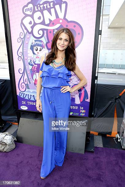 Actress Samantha Harris attends the 'Purple Carpet' premiere of 'My Little Pony Equestria Girls' presented by Hasbro Studios and LAFF at Regal...