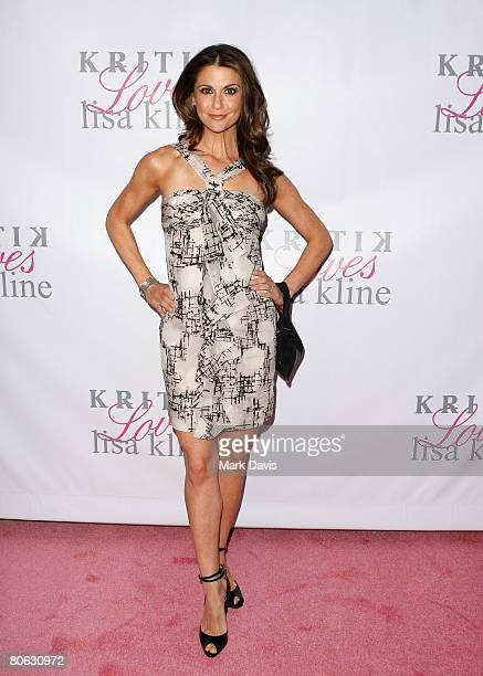 Actress Samantha Harris poses at the Jonathan Cheban Lanch of Kritik Clothing held at the Lisa Kline store on April 10 2008 in Beverly Hills...