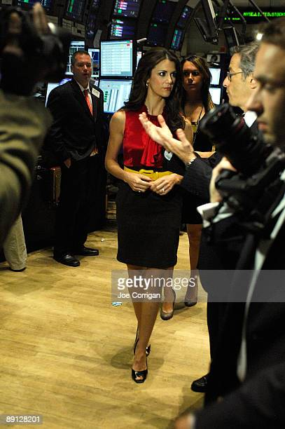 Actress Samantha Harris stands on the floor at the New York Stock Exchange on July 21 2009 in New York City