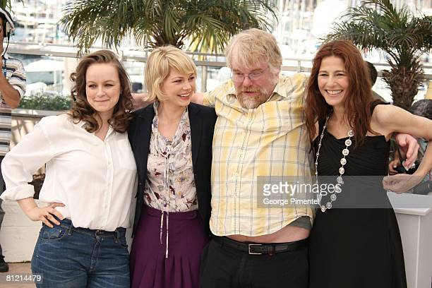 Actress Samantha Morton actress Michelle Williams Actor Philip Seymour Hoffman and Actress Catherine Keener attend the 'Synecdoche New York'...