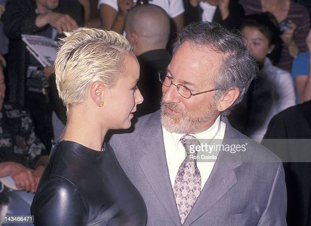 Actress Samantha Morton and director Steven Spielberg attend the 'Minority Report' New York City Premiere on June 17 2002 at the Ziegfeld Theatre in...