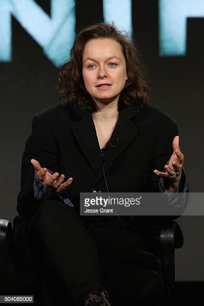 Actress Samantha Morton speaks onstage during the SundanceTV Winter TCA Press Tour 2016 'The Last Panthers' panel at The Langham Huntington Hotel and...