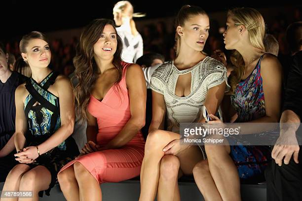 Actress Sami Gayle guest Nina Agdal and Petra Nemcova attend Herve Leger by Max Azria Spring 2016 during New York Fashion Week The Shows at The Arc...