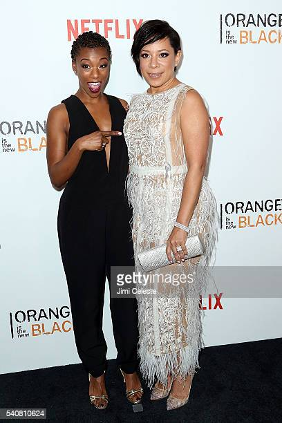 Actress Samira Wiley and Selenis Leyva attending the New York City Premiere Event for Season Four of Netflix's Orange is the New Black at SVA Theater...