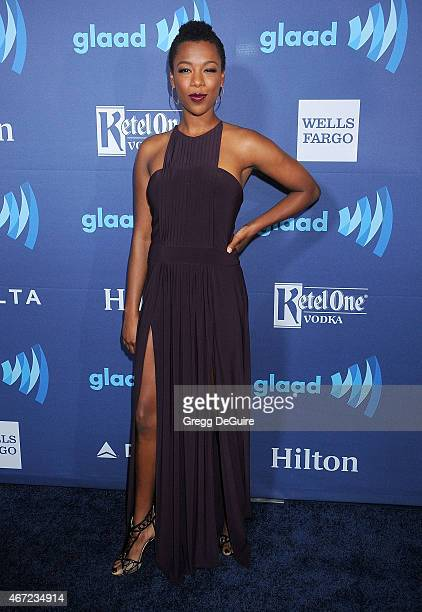 Actress Samira Wiley arrives at the 26th Annual GLAAD Media Awards at The Beverly Hilton Hotel on March 21 2015 in Beverly Hills California