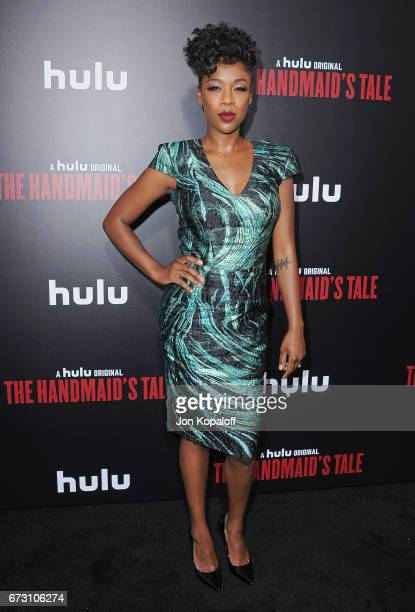 Actress Samira Wiley arrives at the premiere of Hulu's 'The Handmaid's Tale' at ArcLight Cinemas Cinerama Dome on April 25 2017 in Hollywood...