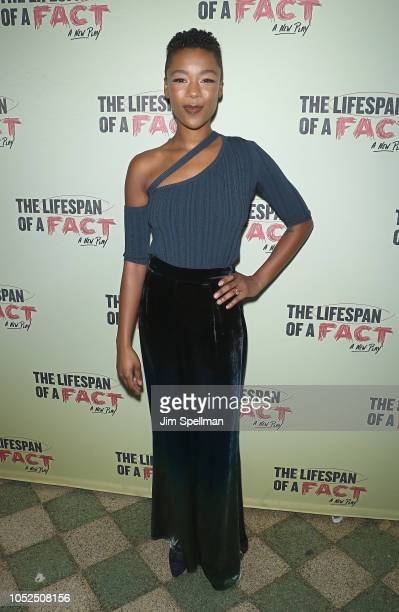 "Actress Samira Wiley attends ""The Lifespan Of A Fact"" opening night at Studio 54 on October 18, 2018 in New York City."