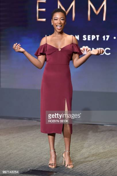 Actress Samira Wiley poses on stage at the nominations announcement for the 70th Emmy Awards July 12 2018 at the Television Academy's Wolf Theatre in...