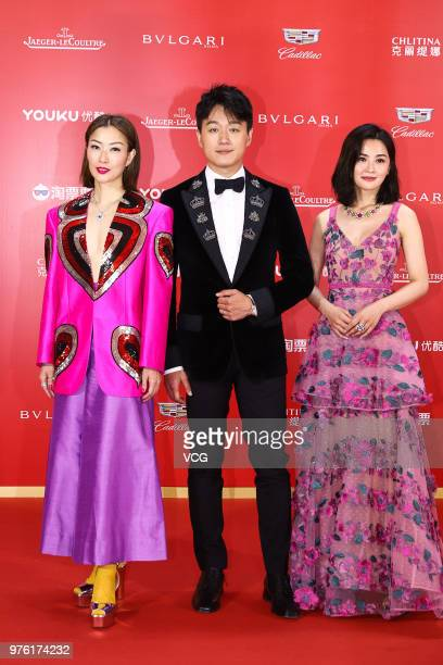 Actress Sammi Cheng actor David Tong Dawei and actress and singer Charlene Choi arrive at the opening ceremony of the 21st Shanghai International...