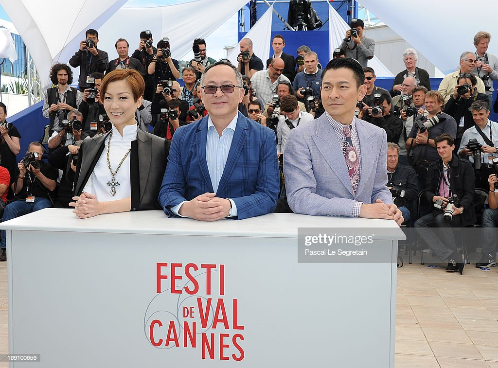 Actress Sammi Cheng, director Johnnie To and actor Andy Lau attends the photocall for 'Blind Detective' during The 66th Annual Cannes Film Festival at Palais des Festivals on May 20, 2013 in Cannes, France.