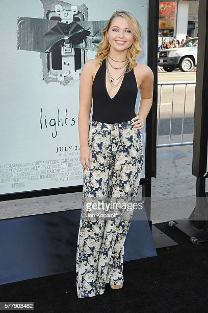 Actress Sammi Hanratty arrives at the Los Angeles Premiere 'Lights Out' at TCL Chinese Theatre on July 19 2016 in Hollywood California