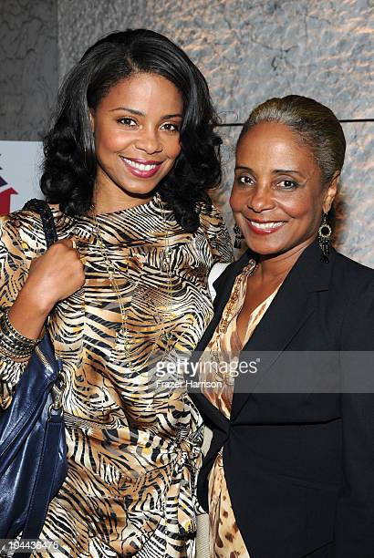 Actress Sanaa Lathan and her mother Eleanor McCoy arrive at the Waiting For Superman screening to benefit Communities In Schools at CAA on September...