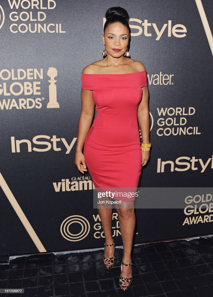 Actress Sanaa Lathan arrives at The Hollywood Foreign Press Association And InStyle Miss Golden Globe 2013 Party at Cecconi's Restaurant on November 29, 2012 in Los Angeles, California.