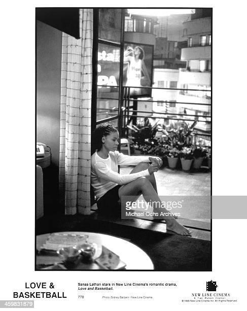 Actress Sanaa Lathan on set of the New Line Cinema movie Love Basketball circa 2000