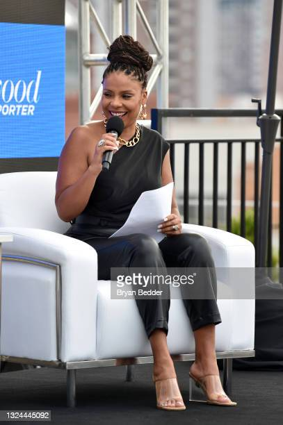 Actress Sanaa Lathan speaks at the Tribeca Talks: Gina Prince-Bythewood with Sanaa Lathan during the 2021 Tribeca Festival at Spring Studios on June...