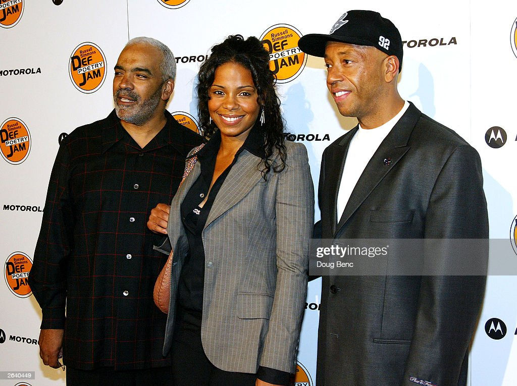 Actress Sanaa Lathan with her father Stan Lathan (L) and Russell Simmons (R) attend Russell Simmons Def Jam Poetry Broadway 'Jams' Tour Kick-off on October 23, 2003 at the Wadsworth Theater in Brentwood, California.