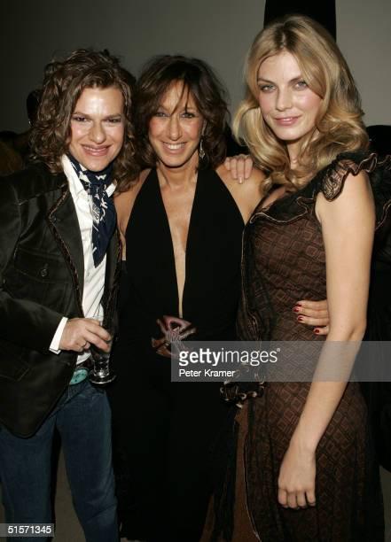 Actress Sandra Bernhard, fashion designer Donna Karan and model Angela Lindvall attend the celebration of 20 years of the Donna Karan brand on...