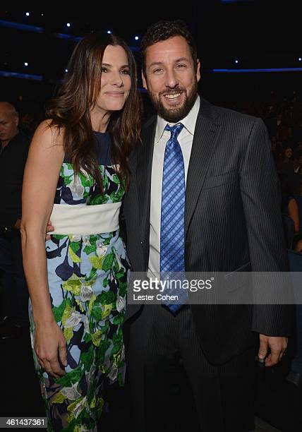 Actress Sandra Bullock and actor/comedian Adam Sandler attend The 40th Annual People's Choice Awards at Nokia Theatre LA Live on January 8 2014 in...