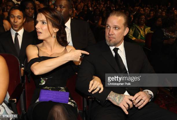 Actress Sandra Bullock and husband Jesse James in the audience during the 41st NAACP Image awards held at The Shrine Auditorium on February 26 2010...