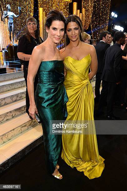 Actress Sandra Bullock and model Camila Alves attend the 20th Annual Screen Actors Guild Awards at The Shrine Auditorium on January 18 2014 in Los...