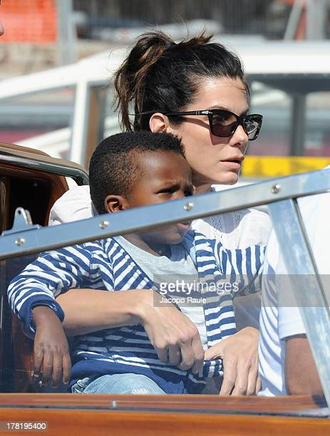 Actress Sandra Bullock and son Louis Bardo Bullock are seen during the 70th Venice International Film Festival on August 27 2013 in Venice Italy