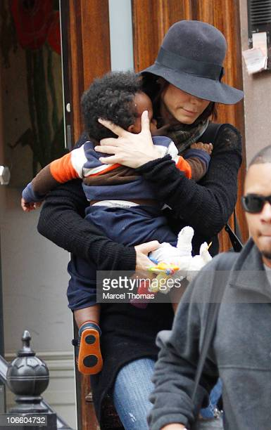 Actress Sandra Bullock and son Louis Bullock are seen on the streets of Manhattan on November 6, 2010 in New York City.