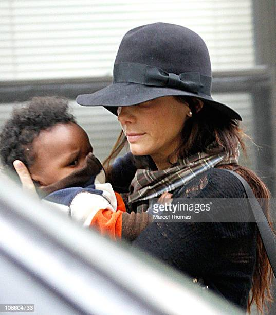 Actress Sandra Bullock and son Louis Bullock are seen on the streets of Manhattan on November 6 2010 in New York City