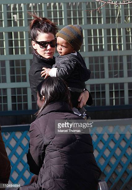 Actress Sandra Bullock and son Louis Bullock are seen on the streets of Manhattan on March 20, 2011 in New York City.