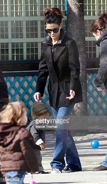Actress Sandra Bullock and son Louis Bullock are seen on the streets of Manhattan on March 20 2011 in New York City